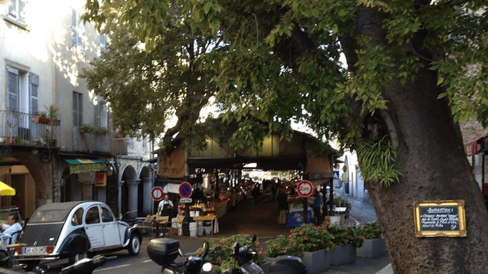 Antibes market square seen during a day trip with Sunny Days Prestige Travel. Image courtesy: Justin Sawyer